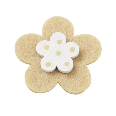 10 FLOWERS COLORFUL FELT-AND-WOOD - BEIGE