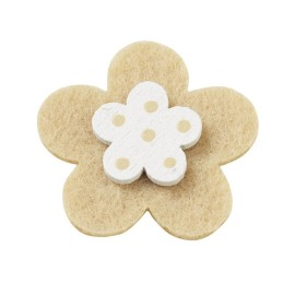 10 FLOWERS, COLORFUL FELT WITH A WOODEN AND DOUBLE-SIDED TAPE - BEIGE