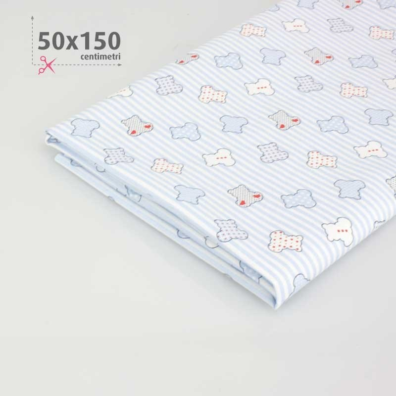 COTTON PRINTED teddy BEARS H 50 x 150 cm - sky blue