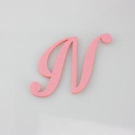 """LETTERA IN FELTRO COLORATO - """"N"""" CORSIVO MAIUSCOLO"""