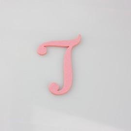 """LETTERA IN FELTRO COLORATO - """"T"""" CORSIVO MAIUSCOLO"""