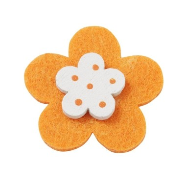 10 FLOWERS COLORFUL FELT-AND-WOOD - ORANGE