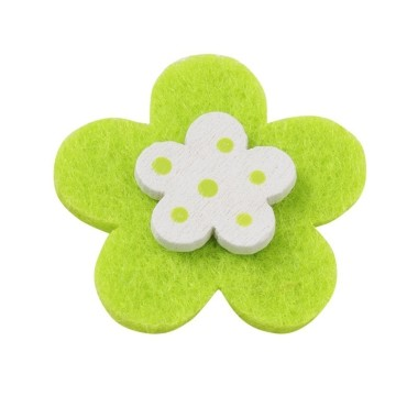 10 FLOWERS COLORFUL FELT-AND-WOOD - GREEN LEMON