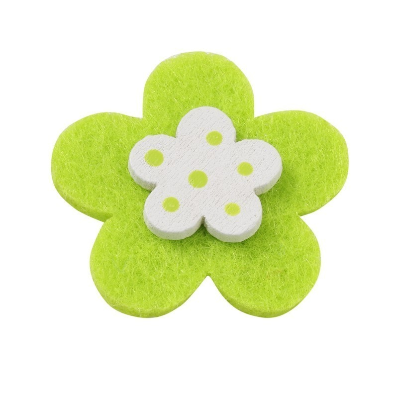 10 FLOWERS, COLORFUL FELT WITH A WOODEN AND DOUBLE-SIDED TAPE - ORANGE