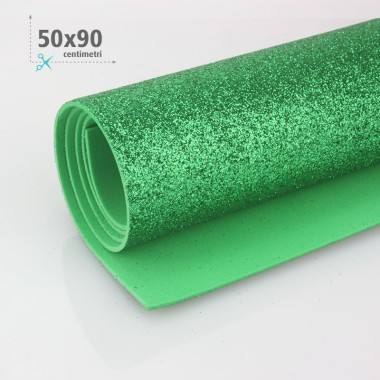 GOMMA CREPLA / MOOSGUMMI / FOMMY GLITTER 50 X 90 CM - VERDE