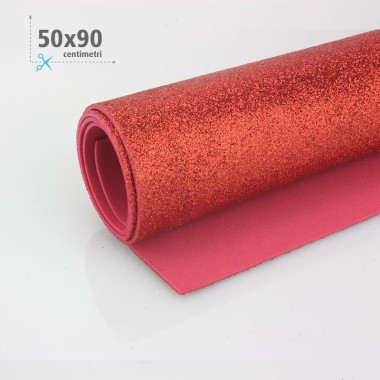 GOMMA CREPLA / MOOSGUMMI / FOMMY GLITTER 50 X 90 CM - ROSSO