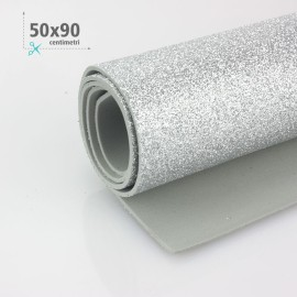 GOMMA CREPLA / MOOSGUMMI / FOMMY GLITTER 50 X 90 CM - ARGENTO