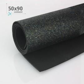 GOMMA CREPLA / MOOSGUMMI / FOMMY GLITTER 50 X 90 CM - NERO