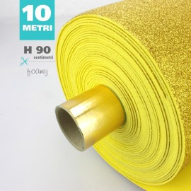 ROTOLO GOMMA CREPLA / MOOSGUMMI / FOMMY GLITTER CM 90 H X 10 MT - ORO