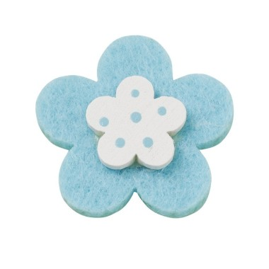 10 FLOWERS COLORFUL FELT-AND-WOOD - TURQUOISE