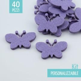 KIT RISPARMIO 40 FARFALLE IN FELTRO - DIMENSIONI A SCELTA