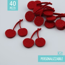 KIT RISPARMIO 40 CILIEGIE IN FELTRO - DIMENSIONI A SCELTA