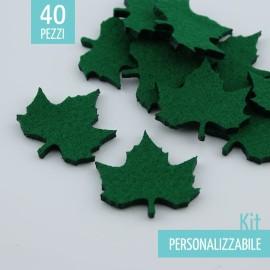 KIT RISPARMIO 40 FOGLIE II IN FELTRO - DIMENSIONI A SCELTA