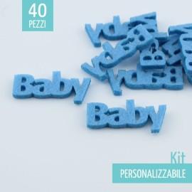 """KIT RISPARMIO 70 SCRITTE """"BABY"""" IN FELTRO - DIMENSIONI A SCELTA"""