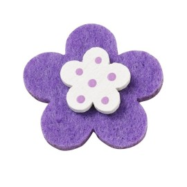 10 FLOWERS, COLORFUL FELT WITH A WOODEN AND DOUBLE-SIDED - TURQUOISE