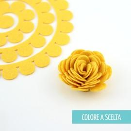 """ROLLED FLOWER """"MODELLO 4"""" IN PANNOLENCI MO- COLORE A SCELTA"""