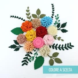"""ROLLED FLOWER """"MODELLO 5"""" IN PANNOLENCI MO- COLORE A SCELTA"""