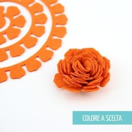 """ROLLED FLOWER """"MODELLO 10"""" IN PANNOLENCI MO- COLORE A SCELTA"""
