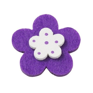10 FLOWERS COLORFUL FELT-AND-WOOD - DARK PURPLE