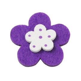 10 FLOWERS, COLORFUL FELT WITH A WOODEN AND DOUBLE-SIDED - PURPLE