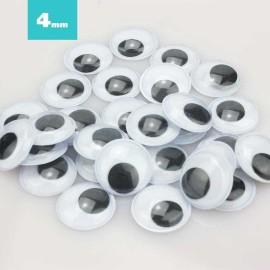 100 OCCHI ROTONDI 4 mm DA INCOLLARE