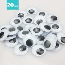 25 OCCHI ROTONDI 20 mm DA INCOLLARE