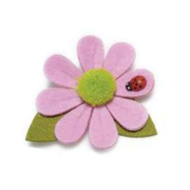 6 FLOWERS IN COLOURED FELT WITH LADYBUG - PINK