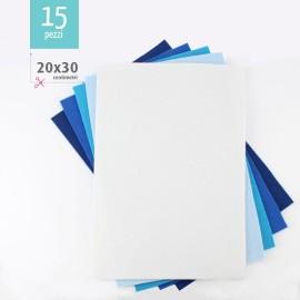KIT RISPARMIO 15 FOGLI FELTRO 20X30 CM - BLU/BIANCO