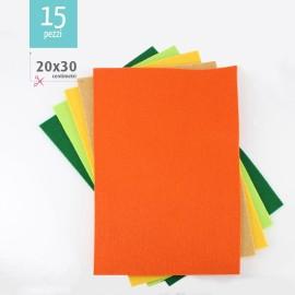 KIT RISPARMIO 15 FOGLI FELTRO 20X30 CM - VERDE/ARANCIO