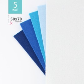 KIT RISPARMIO 5 FOGLI FELTRO 50X70 CM - BLU/BIANCO
