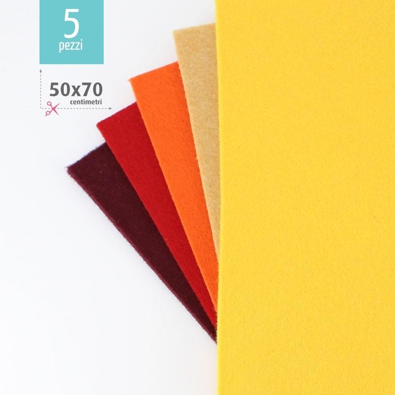KIT RISPARMIO 5 FOGLI FELTRO 50X70 CM - BORDEAUX/GIALLO