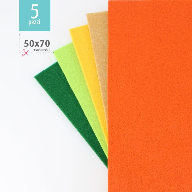 KIT RISPARMIO 5 FOGLI FELTRO 50X70 CM - VERDE/ARANCIO