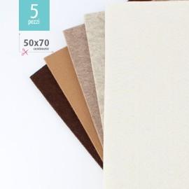 KIT RISPARMIO 5 FOGLI FELTRO 50X70 CM - MARRONE/CREMA