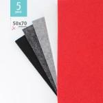KIT RISPARMIO 5 FOGLI FELTRO 50X70 CM - DESIGN