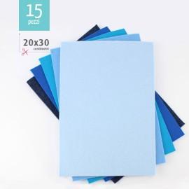 KIT SAVINGS OF 15 SHEETS OF FELT 20X30 CM - BLUE / LIGHT BLUE