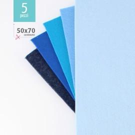 KIT RISPARMIO 5 FOGLI FELTRO 50X70 CM - BLU/CELESTE