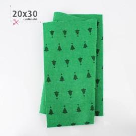PANNOLENCI STAMPATO NATALIZIO 20X30 CM ABETE - VERDE BILIARDO
