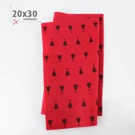 PANNOLENCI STAMPATO NATALIZIO 20X30 CM ABETE - ROSSO