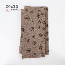 PANNOLENCI STAMPATO NATALIZIO 20X30 CM NEVE - TORTORA SCURO