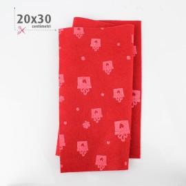 PANNOLENCI STAMPATO NATALIZIO 20X30 CM REGALI - ROSSO