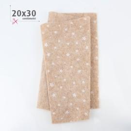 PANNOLENCI STAMPATO NATALIZIO 20X30 CM STELLINE - BEIGE MELANGE