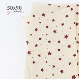 PANNOLENCI STAMPATO NATALIZIO 50X90 CM STELLINE - PANNA