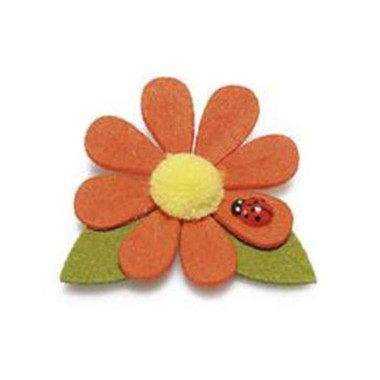 6 FLOWERS IN COLOURED FELT WITH LADYBIRD - ORANGE