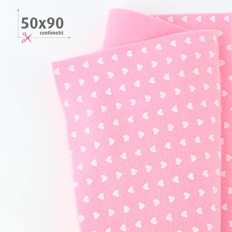 PANNOLENCI STAMPATO 50X90 CM CUORI - ROSA
