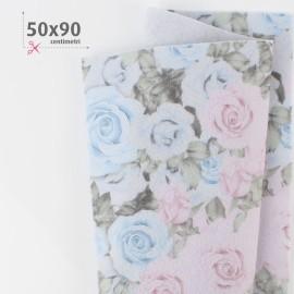PANNOLENCI STAMPATO 50X90 CM BOUQUET ROSE - ROSA/CELESTE
