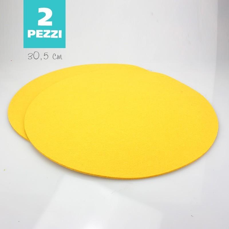 SET OF 2 TABLE MATS OF FELT - YELLOW