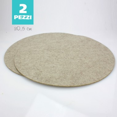 SET OF 2 TABLE MATS FELT - TAUPE