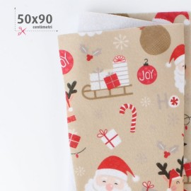 PANNOLENCI STAMPATO NATALIZIO 50X90 CM JOY OF CHRISTMAS - BEIGE