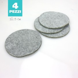 SET 4 SOTTOBICCHIERI IN FELTRO - GRIGIO CHIARO