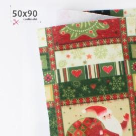PANNOLENCI STAMPATO NATALIZIO 50X90 CM CHRISTMAS PATCH - VERDE